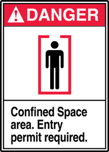 """ANSI Safety Sign, DANGER: Confined Space, Entry Permit Required, 14 x 10"""", Pack/10"""