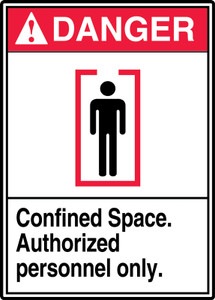 """ANSI Safety Sign, DANGER: Confined Space, Auth Only, 14 x 10"""", Pack/10"""
