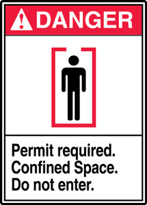 """ANSI Safety Sign, DANGER: Permit Required, Confined Space, Do Not Enter, 14 x 10"""", Pack/10"""