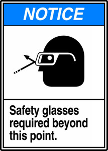 """ANSI Safety NOTICE Sign: Safety Glasses Required, 14 x 10"""", Pack/10"""