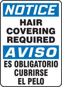 "Bilingual OSHA NOTICE Sign: Hair Covering Required, 14 x 10"", Pack/10"