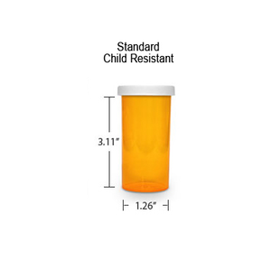 Amber Pharmacy Vials, Child Resistant Caps, 16 dram (1 oz)