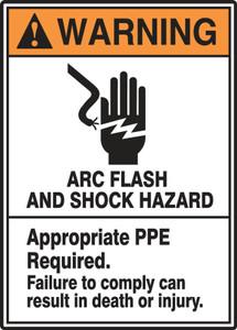 """ANSI Warning Sign: Arc Flash And Shock Hazard, 14 x 10"""", Pack/10"""