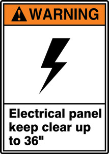 """ANSI Warning Sign: Electrical Panel Keep Clear Up to 36"""", 14 x 10"""", Pack/10"""