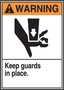 "ANSI Warning Sign: Keep Guards In Place, 14 x 10"", Pack/10"