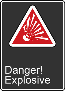"""CSA Safety Sign - Danger! Explosive, 14 x 10"""", Pack/10"""