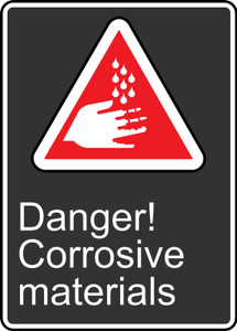 """CSA Safety Sign - Danger! Corrosive Materials, 14 x 10"""", Pack/10"""