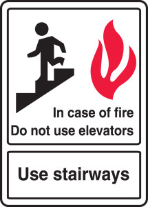 """ANSI Safety Sign, In Case Of Fire Do Not Use Elevators, Use Stairways, 14 x 10"""", Pack/10"""