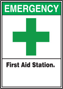 "ANSI Safety Sign, Emergency First Aid Station, 14 x 10"", Pack/10"