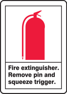 """ANSI Safety Sign, Fire Extinguisher, Remove Pin And Squeeze Trigger, 14 x 10"""", Pack/10"""