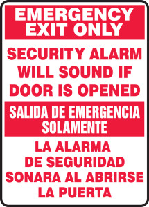 """Bilingual Safety Sign, Emergency Exit Only, Security Alarm Will Sound If Door Is Opened, 14 x 10"""", Pack/10"""