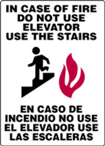 """Bilingual Safety Sign, In Case Of Fire Do Not Use Elevator, Use The Stairs, 14 x 10"""", Pack/10"""