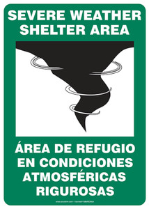 """Bilingual Safety Sign - Severe Weather Shelter Area, 14 x 10"""", Pack/10"""