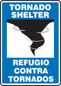 "Bilingual Safety Sign - Tornado Shelter, 14 x 10"", Pack/10"