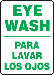 "Bilingual Safety Sign - Eye Wash, 14 x 10"", Pack/10"
