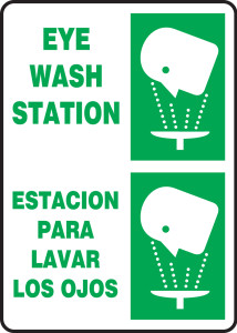 "Bilingual Safety Sign - Eye Wash Station, 14 x 10"", Pack/10"