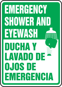 "Bilingual Safety Sign, Emergency Shower And Eyewash, 14 x 10"", Pack/10"