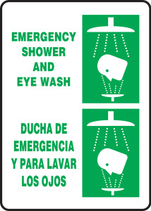 "Bilingual Safety Sign, Emergency Shower And Eye Wash, 14 x 10"", Pack/10"