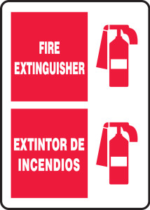 """Bilingual Fire Safety Sign - Fire Extinguisher, 14 x 10"""", Pack/10"""