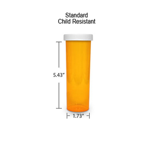 Amber Pharmacy Vials, Child Resistant Caps, 60 dram (3.75 oz)