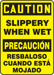 "Bilingual OSHA CAUTION Sign - Slippery When Wet, 20"" x 14"", Pack/10"