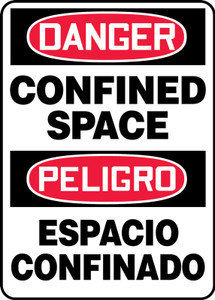 """Bilingual OSHA Danger Sign: Confined Space, 20"""" x 14"""", Pack/10"""