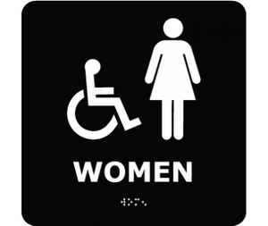 ADA Compliant Braille Handicapped Women Entrance Sign