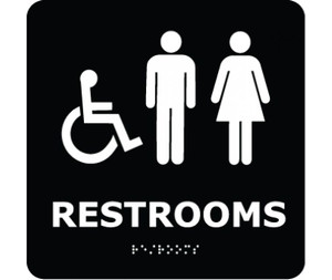 ADA Compliant Braille Restrooms Symbol Sign