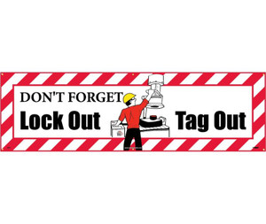Workplace Safety Banner, Lockout-Tagout, Accident Prevention, 3 x 10 ft
