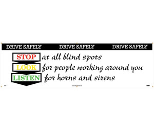 Workplace Safety Banner, Drive Safely, Accident Prevention, 3 x 10 ft
