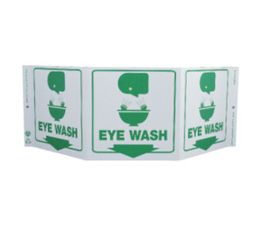 "First Aid Type Green Work Eye Wash Sign, 7.5"" x 20"""