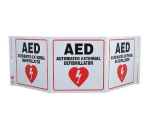 "First Aid Type Green Work AED Sign, 7.5"" x 20"""