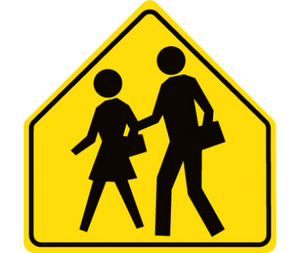 "No Parking & Tow Away Signs Graphic Only Pedestrian Crossing Traffic Sign, 30"" x 30"""