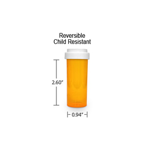 Amber Pharmacy Vials, Reversible / Child Resistant Caps, 8 dram (1/2 oz)