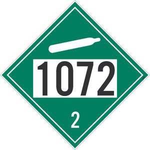 "1072 2 DOT Placard Sign, Adhesive Vinyl, 10.75"", pack/25"