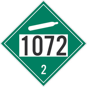 """1072 2 DOT Placard Sign, Removable Vinyl, Green, 10.75"""", pack/25"""