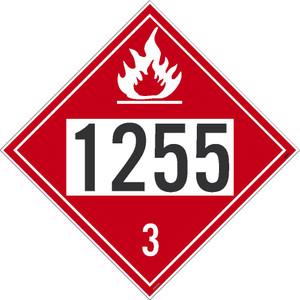 "1255 3 DOT Placard Sign, Adhesive Vinyl, 10.75"", pack/25"