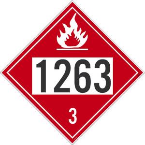 "1263 3 DOT Placard Sign, Adhesive Vinyl, 10.75"", pack/25"