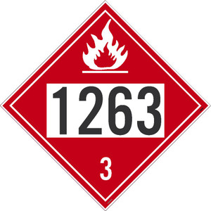 "1263 3 DOT Placard Sign, Removable Vinyl, 10.75"", pack/25"