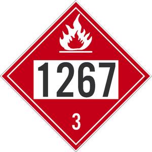 "1267 3 DOT Placard Sign, Adhesive Vinyl, 10.75"", pack/25"