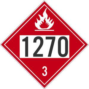 """1270 3 DOT Placard Sign, Card Stock, 10.75"""", pack/50"""