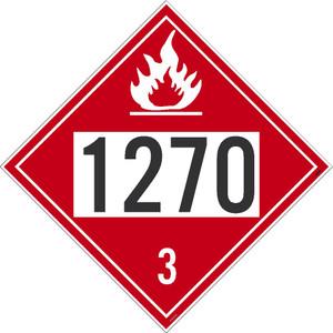 "1270 3 DOT Placard Sign, No-Rip Vinyl, 10.75"", pack/25"