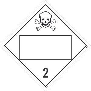 """2 Gases Poison Blank Placard Sign Adhesive Backed Vinyl, 10.75"""" X 10.75"""""""