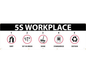 Lean Workplace 5S Safety Banner, Black/Red/White, 3 x 10 ft