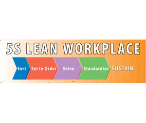 Lean Workplace 5S Safety Banner, Colorful, 3 x 10 ft