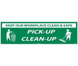 Workplace Hygiene Banner, Keep It Clean & Safe, Clean-up Banner, 3 x 10 ft