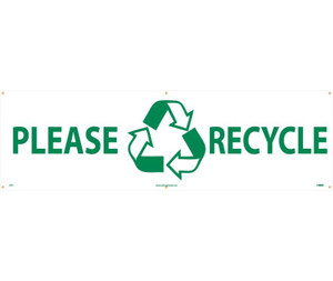 Workplace Hygiene Banner, Please Recycle, 3 x 10 ft