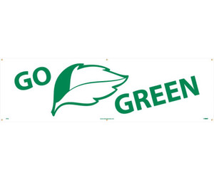 Workplace Hygiene Banner, Go Green, 3 x 10 ft