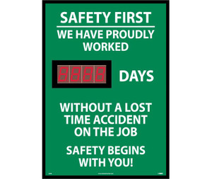 """Scoreboard, Safety First, We Have Proudly Worked, 28"""" x 20"""""""