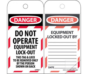 "Danger Do Not Operate Equipment Lock-out Tag Polytag, 6"" X 3"""